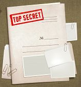 dorsal view of military top secret folder with stamp