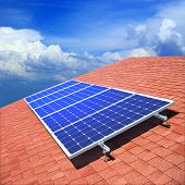 image of solar battery  - Solar panels on the roof of private home - JPG