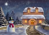 Christmas landscape at night. Original digital illustration.