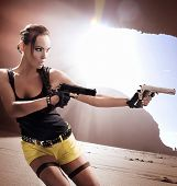 pic of woman beach  - Lara Croft in action - JPG
