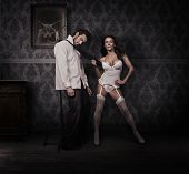 picture of dominant woman  - Dominating woman and handsome man - JPG