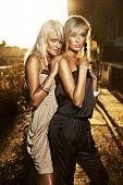 Two elegant blond women