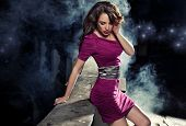 foto of ladies night  - Beauty brunette in night scenery - JPG