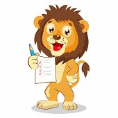 Постер, плакат: Cute Lion Holding Up His Grades Cartoon Vector Cute Lion Drawing Lion Pictures