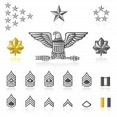 pic of sergeant major  - a set of rank icons with light reflections - JPG
