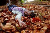 Постер, плакат: женщина лежа на осенние листья