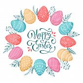 Happy easter wreath poster
