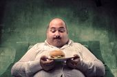 Fat man sitting on an armchair and looking at his hamburger