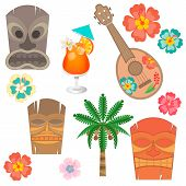 Постер, плакат: Set Hawaii Simbols And Accessories
