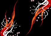 Black Background With Red Flames And White Flowers