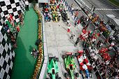 Sepang, MALAYSIA - 23 November: Winners podium, winning cars and supporters at the World A1 GP races