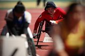 KUALA LUMPUR - AUGUST 16: Wheel chair athletes in action at the 800m race of the fifth ASEAN Para Ga
