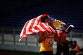 KUALA LUMPUR - AUGUST 16: Malaysia's Haridas Krishna Kumar celebrates his win at the track and field event of the fifth ASEAN Para Games on August 16, 2009 in Kuala Lumpur, Malaysia.