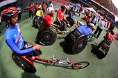 KUALA LUMPUR - AUGUST 16: ASEAN nations' wheel chair athletes gather before the race at the track an