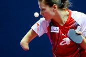 KUALA LUMPUR, MALAYSIA - SEPTEMBER 24: Paralympic Games champion Natalia Partyka of Poland serves at the Volkswagen 2010 Women's World Cup in table tennis on September 24, 2010 in Kuala Lumpur.