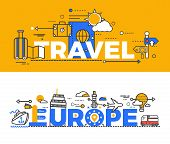 Постер, плакат: Travel Europe Design Flat Concept