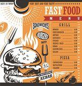 Постер, плакат: Fast Food Menu