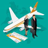 Business travel isometric composition. Travel and tourism background. Flat 3d Vector illustration. T poster
