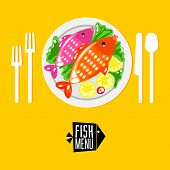 Постер, плакат: Cartoone fish menu with Icon
