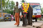 Kerala - April 9: A Young Mahout Leads A Baby Elephant To A Temple Festival On April 9, 2010 In Kera