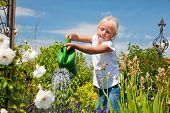Niña regando las flores en el jardín de la familia en un día de verano, escena muy rural