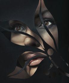 picture of beautiful woman  - Shaped portrait of a beautiful woman - JPG