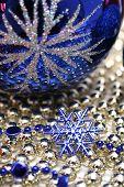 Glass Celebratory Sphere And Blue Snowflake