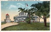 NEW YORK CITY - CIRCA 1919: Vintage postcard shows Claremont Hotel & Grant's Tomb on Riverside Drive