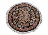 stock photo of tabriz  - round persian tabriz carpet from cpuntry of iran hand woven beautiful pattern - JPG