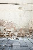 Aged textured street wall