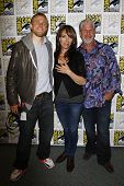 SAN DIEGO, CA - JULY 24: Charlie Hunnam; Katey Sagal; Ron Perlman at the 'Sons of Anarchy' press lin