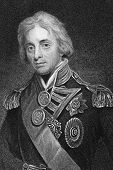 Horatio Nelson (1758-1805). Engraved by T.Woolnonth and published in The Gallery Of Portraits With M
