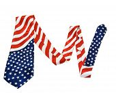American Flag Necktie Isolated On White