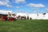 image of revolutionary war  - Revolutionary War reenactment troops at the campsite - JPG