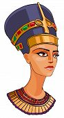 stock photo of nefertiti  - Head of Egyptian Queen  Nefertiti cartoon illustration - JPG
