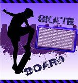 Urban vector composition with city skyline adn skateboarder silhouette