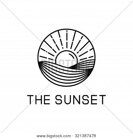 poster of Sunset Design Line Art Isolated White Background. Sunset Vector Illustration. Sunset Design Line Art