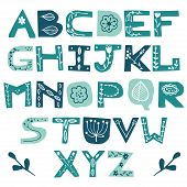 English Colorful Uppercase Paper Cut Alphabe With Floral Doodles. Cutout Letters. Vector Script. Abc poster