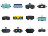 Game Goggles Icons Set. Flat Set Of Game Goggles Vector Icons For Web Design poster