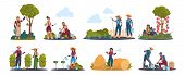Agricultural Work. Cartoon Farmer Characters Working In Field, Harvesting Crops And Fruits. Vector I poster