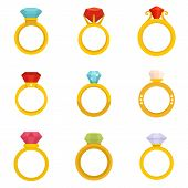 Diamond Ring Icons Set. Flat Set Of Diamond Ring Vector Icons For Web Design poster
