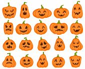 Halloween Pumpkins. Orange Pumpkin Jack Lantern Characters. Spooky And Angry Carved Faces For Autumn poster