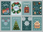 Christmas Set Of Vector Postcard. Happy New Year Postcards And Winter Holidays Cards. Invitation For poster