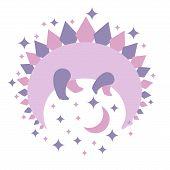 Dinosaur Abstract Shape. Cute Funny Illustration Of Purple Dinosaur On Night Sky. Vector Illustratio poster