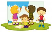 Illustration of kids painting together