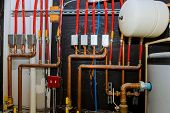 Main Boiler Piping, Independent Heating System Of House Heating System Pipes Collector Of Underfloor poster