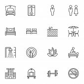Hotel Line Icons Set. Linear Style Symbols Collection, Outline Signs Pack. Vector Graphics. Set Incl poster