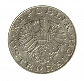 Old Austrian 10 Schilling Coin. Revers. 1975.