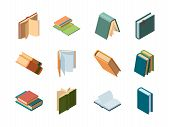 Books Isometric. Library Symbols School Items Opened And Closed Diary Magazines And Books Vector Col poster