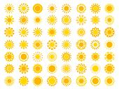 Sun Collection. Yellow Sunrise Symbols Nature Vector Stylized Icon Of Sun. Illustration Of Set Sun,  poster